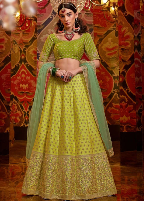 yellow raw silk lehenga