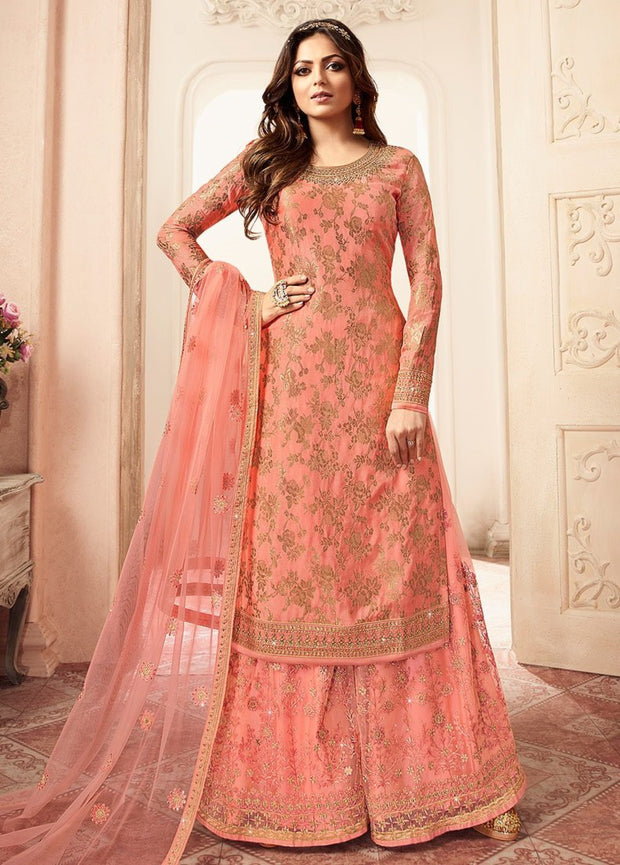 Peach Dola Jaquard Palazzo Suit