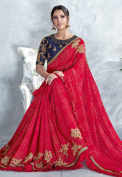 Red Silk georgette Saree With Blouse