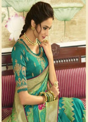 turquoise blue banarasi silk saree with blouse