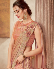 Peach Silk Cord Embroidered Lehenga Choli
