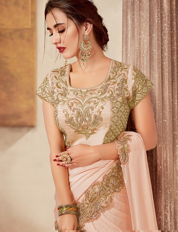 Pink Net Zari Embroidered Lehenga Choli