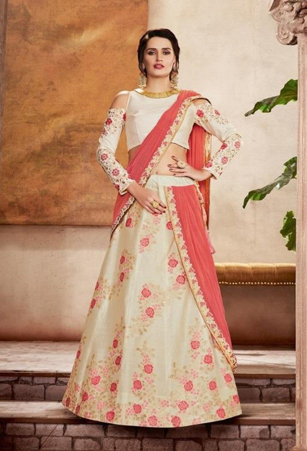 Off White Raw Silk Zari Embroidered Lehenga