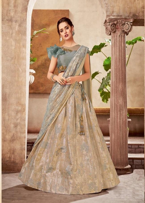 Gray Fancy Jacquard Thread Embroidered Lehenga