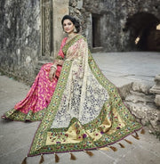 Off white and pink banarasi silk wedding saree