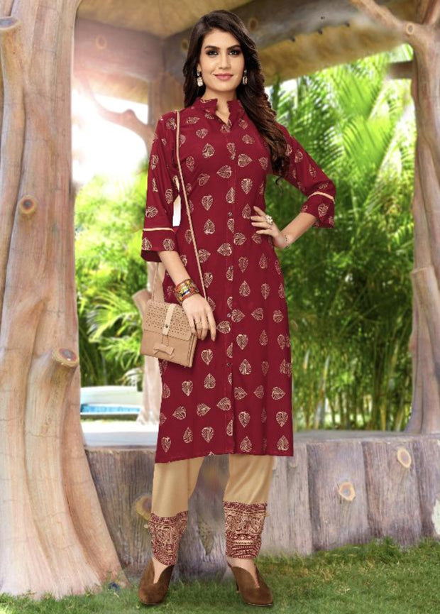 maroon and cream khoyal printed kurti palazzo suit