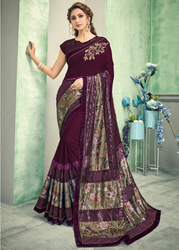 Wine and gold lycra silk saree