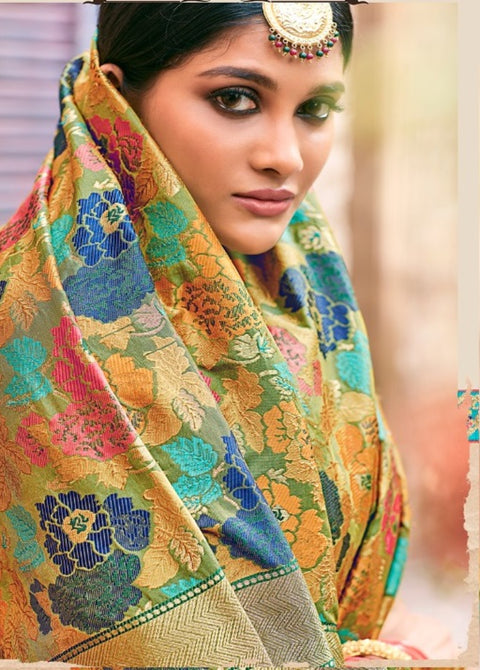 Multi Color Pure Banarasi Silk Saree
