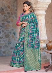 Teal Green designer party wear saree