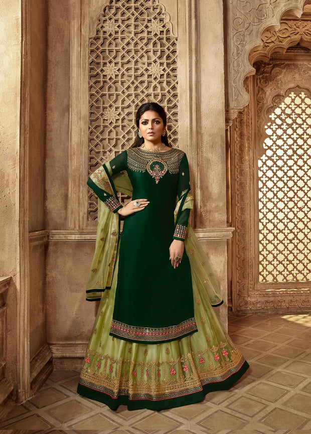 Party wear Designer Embroidery Green Satin Georgette Salwar Suit