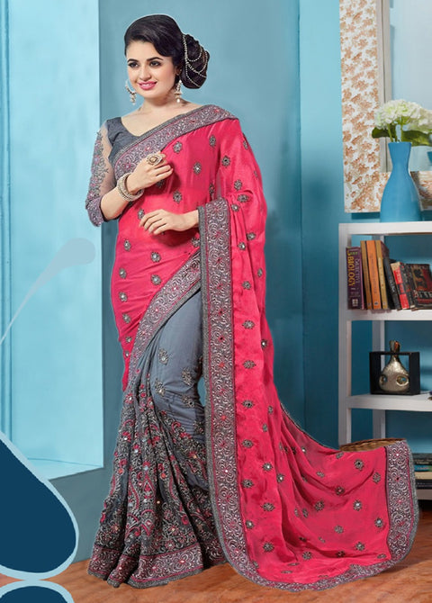 Gray and Pink Designer Saree