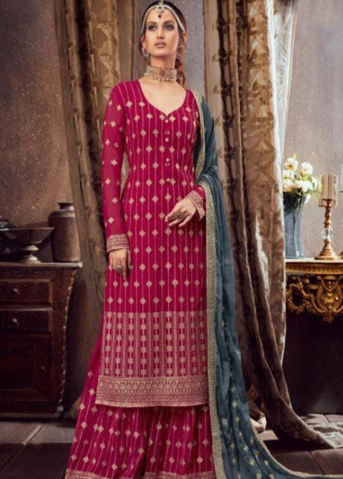 Wine partywear anarkali suit