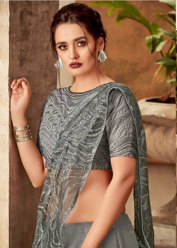 Grey Fancy silk lehenga