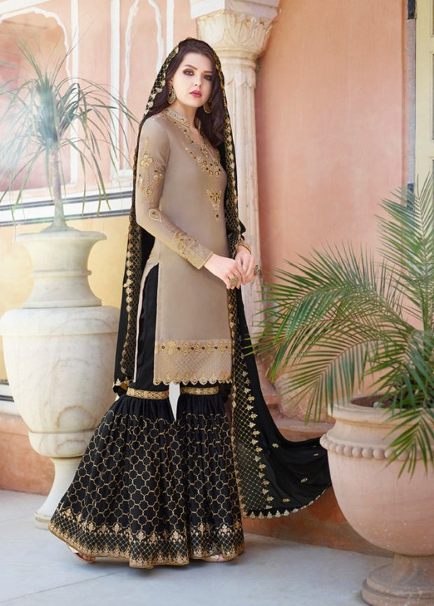 Brown And Black Partywear Sharara Suit
