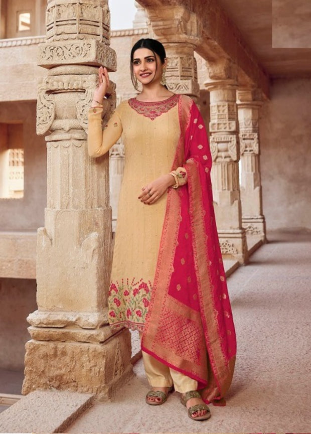 Beige Embroidery Salwar Suit