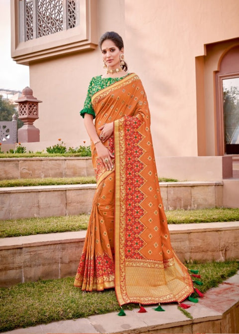 Orange weaved silk saree