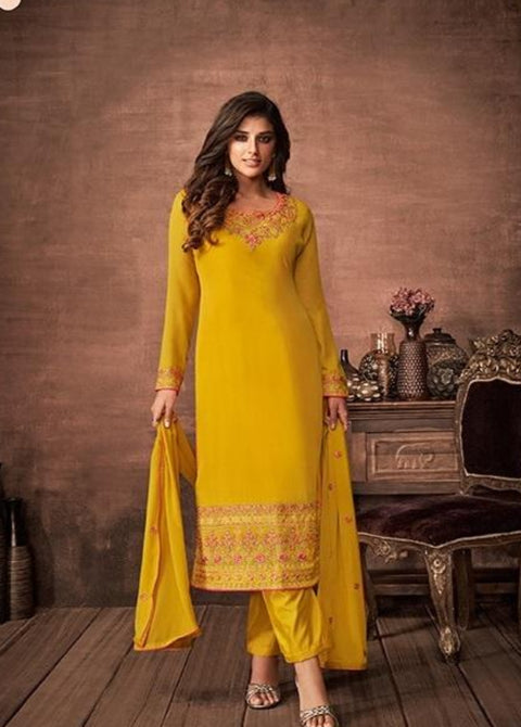 Yellow partywear salwar suit