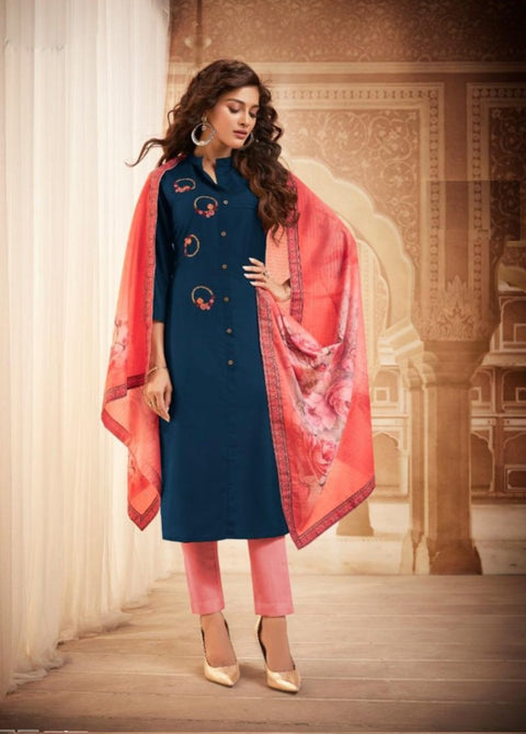 Blue Kurti with designer dupatta and bottom