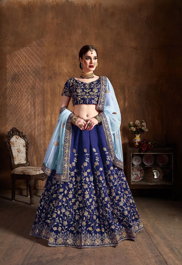 Navy Blue Raw Silk Embroidered Lehenga Choli
