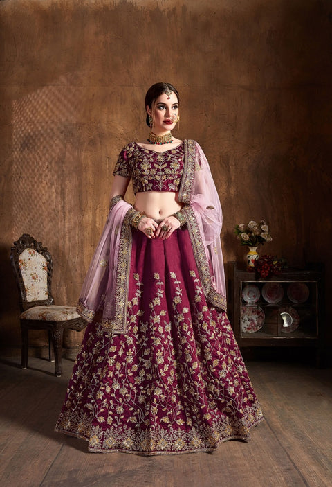 Wine Raw Silk Embroidered Lehenga Choli