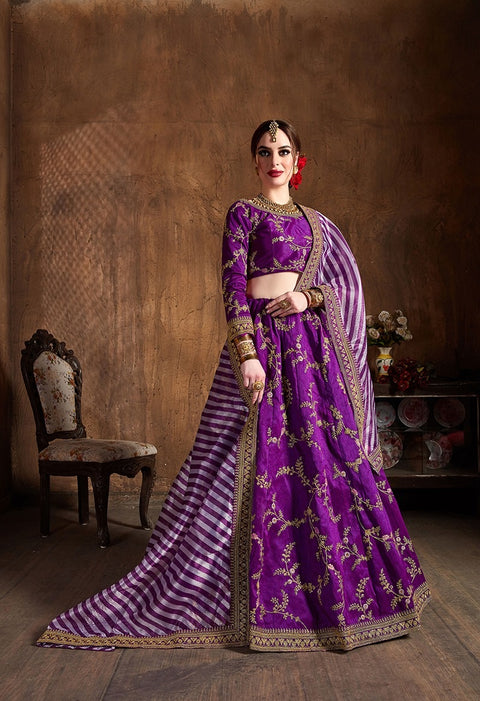 Violet Mulberry Silk Dori Embroidered Lehenga