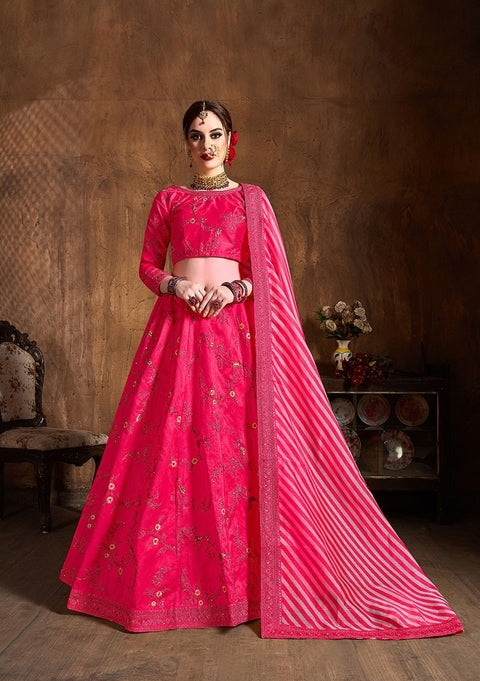 Hot Pink Mulberry Silk Embroidered Lehenga
