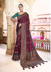 wine dola silk saree
