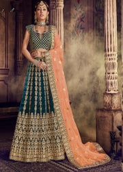 More peach velvet party wear lehenga