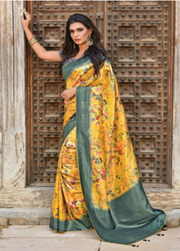 Yellow designer party wear saree