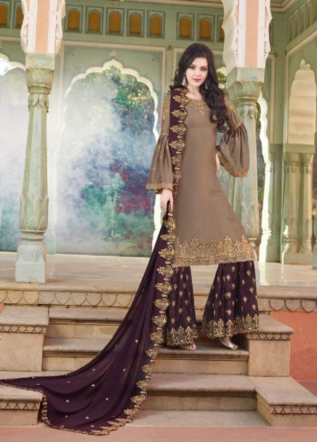 Brown And Wine Partywear Sharara Suit