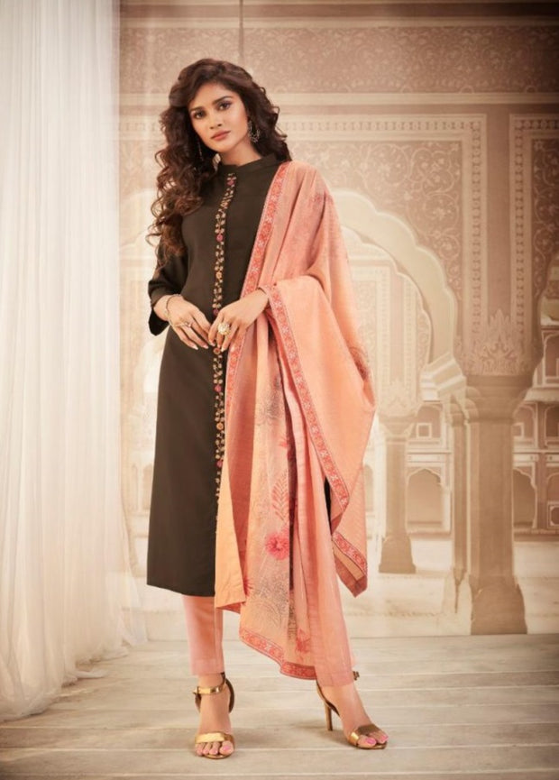 Brown kurti with designer dupatta and bottom