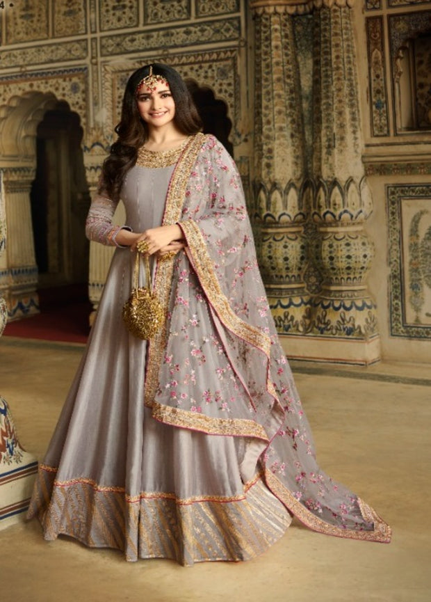 Gray silk  partywear anarkali suit
