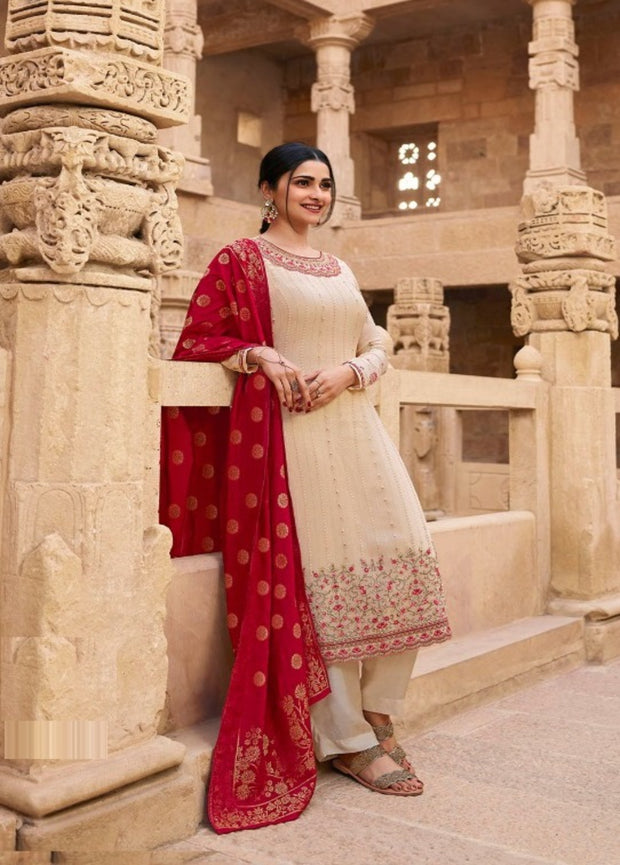 Off White Embroidery Salwar Suit