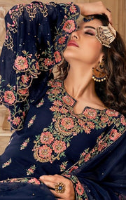 Royal Blue Georgette Partywear Salwar Suit