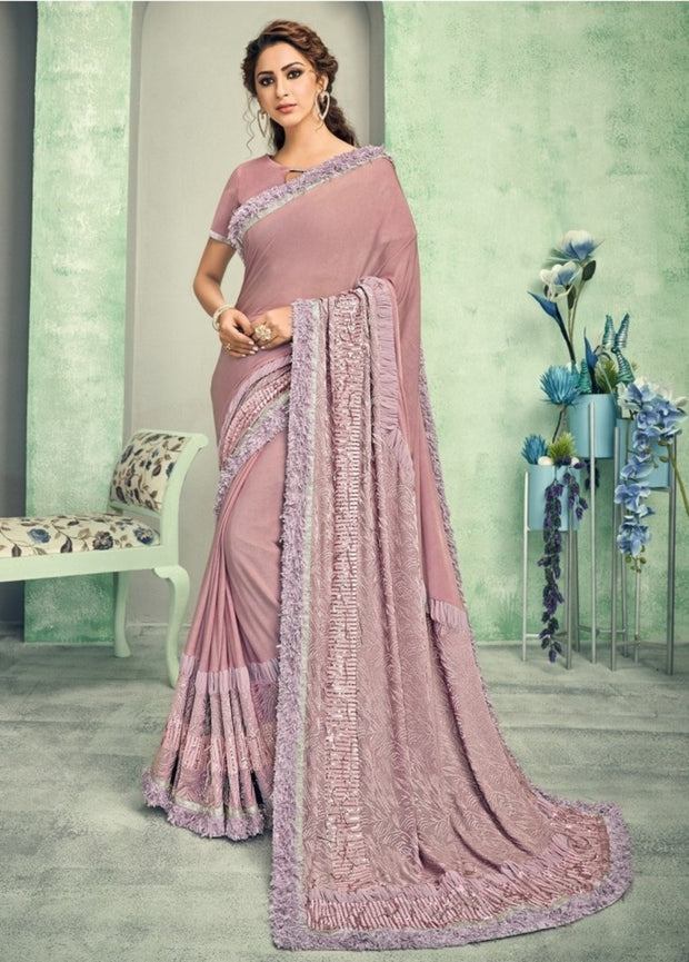light mauve lycra saree