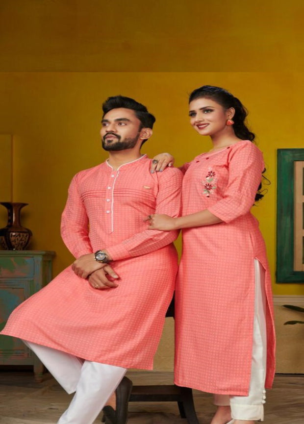 couple combo of pink kurta/kurti with white pants
