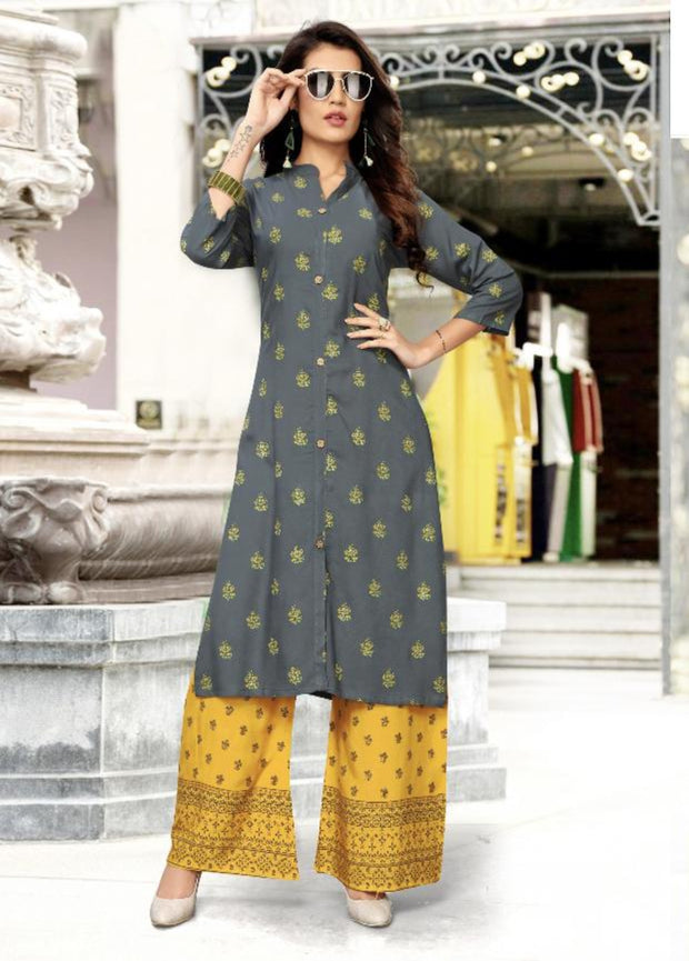 grey and yellow khoyal printed kurti palazzo suit