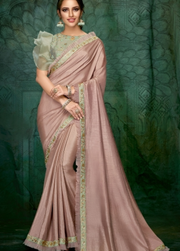 OLD ROSE PINK SATIN GEORGETTE DESIGNER SAREE