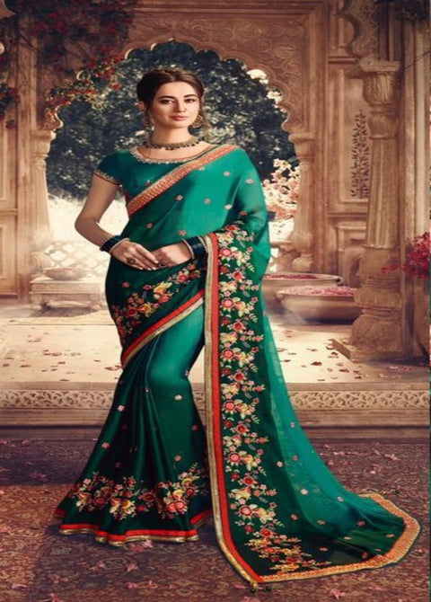 Rama Green Shaded Georgette Silk Saree