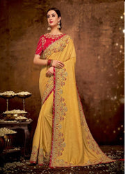 yellow Dual tone silk georgette saree with red blouse