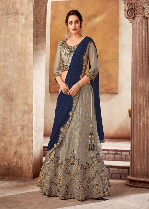 gray blue satin net lehenga