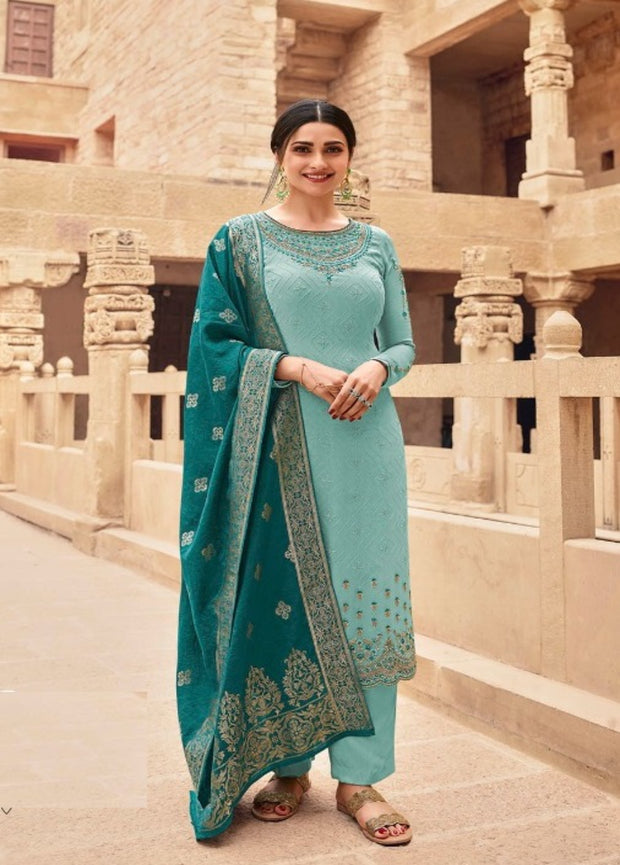 Sea Blue Embroidery Salwar Suit