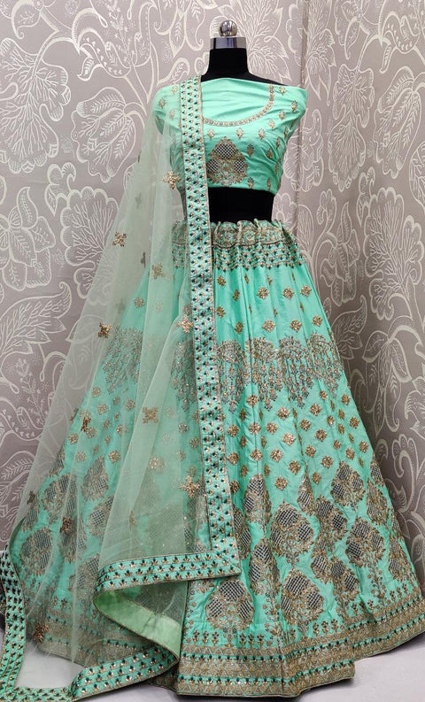 Sea green bridal lehenga choli