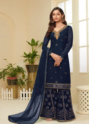 Navy Blue Partywear Sharara Suit
