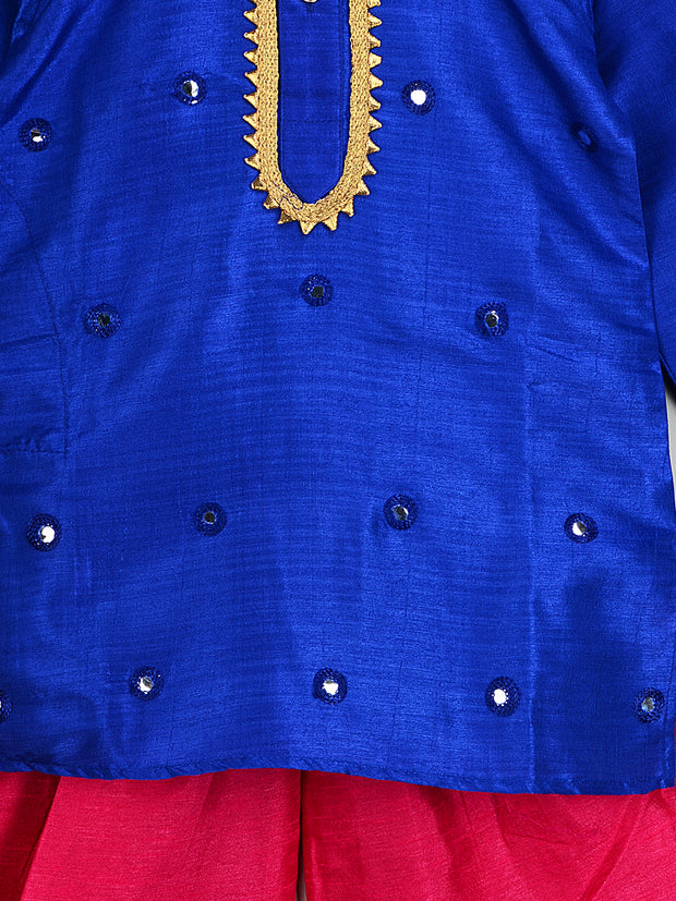 Blue and PinkMIRROR WORK KURTA DHOTI