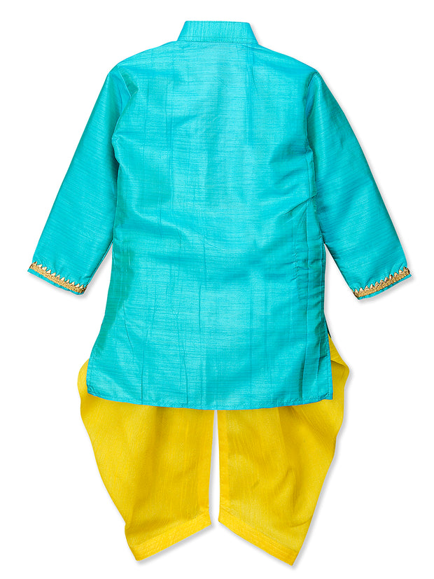 Sky Blue and Yellow MIRROR WORK KURTA DHOTI