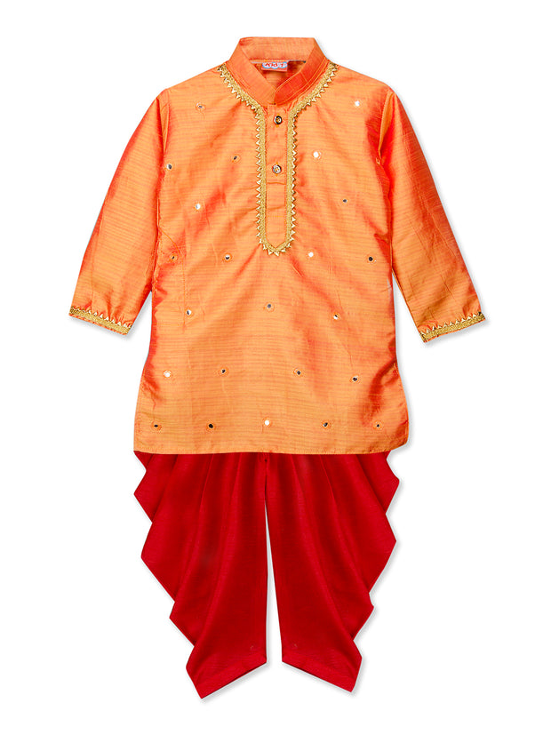 Orange and Red MIRROR WORK KURTA DHOTI