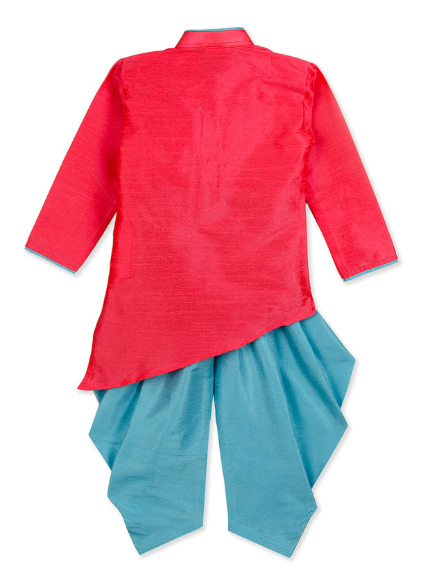 Pink and Blue KITE PATCH  CROSS KURTA WITH DHOTI