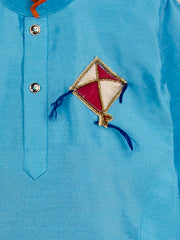 Blue and Orange KITE PATCH  CROSS KURTA WITH DHOTI