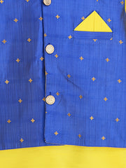 Yellow and blue KURTA PAJAMA WITH NITARA JACKET